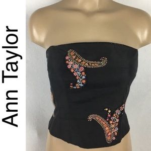 Ann Taylor Black Paisley Embellished Tube Top NEW